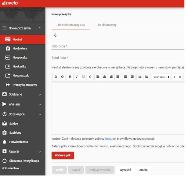 Kliknij na przycisk 'Nowa przesyłka' i wybierz z menu pozycję