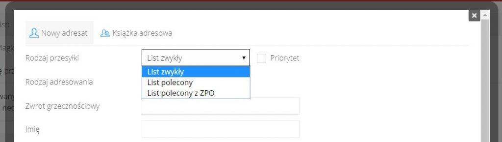 Wybranie opcji przesyłki